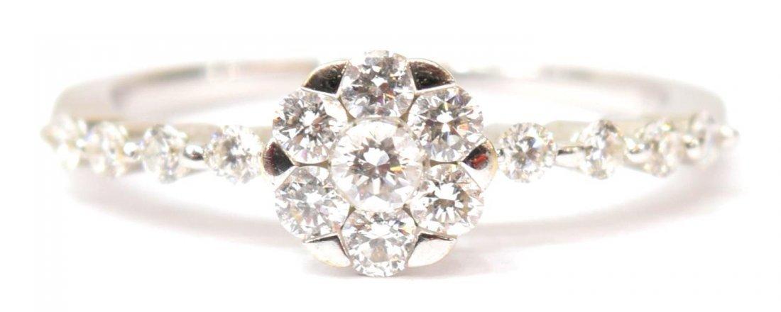LADIES 18KT GOLD & DIAMOND FLORAL RING - 2