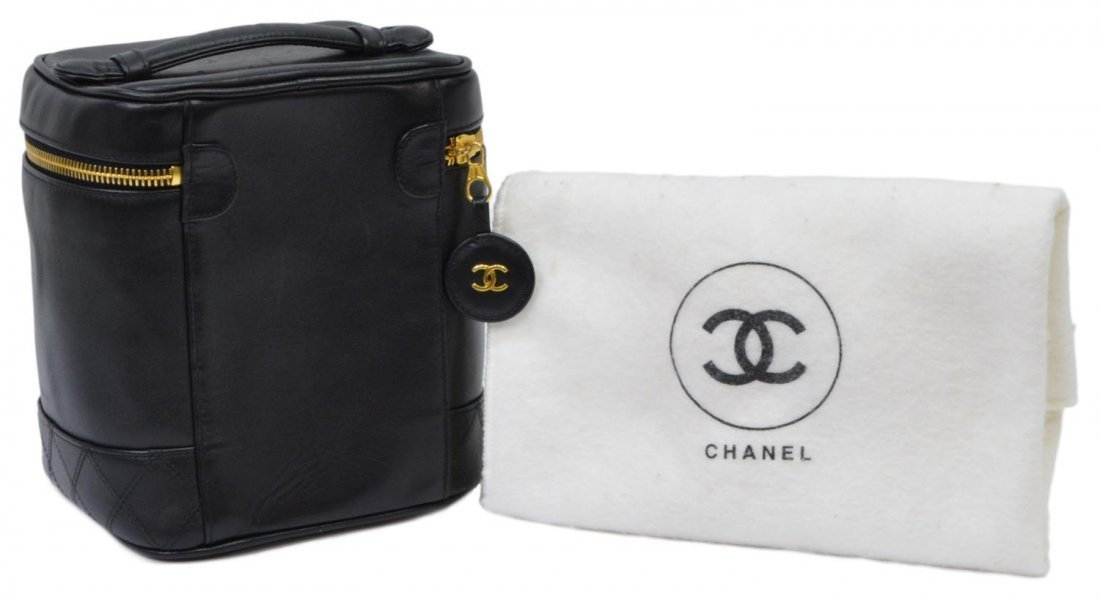 CHANEL LAMBSKIN QUILTED LEATHER COSMETIC BAG - 2