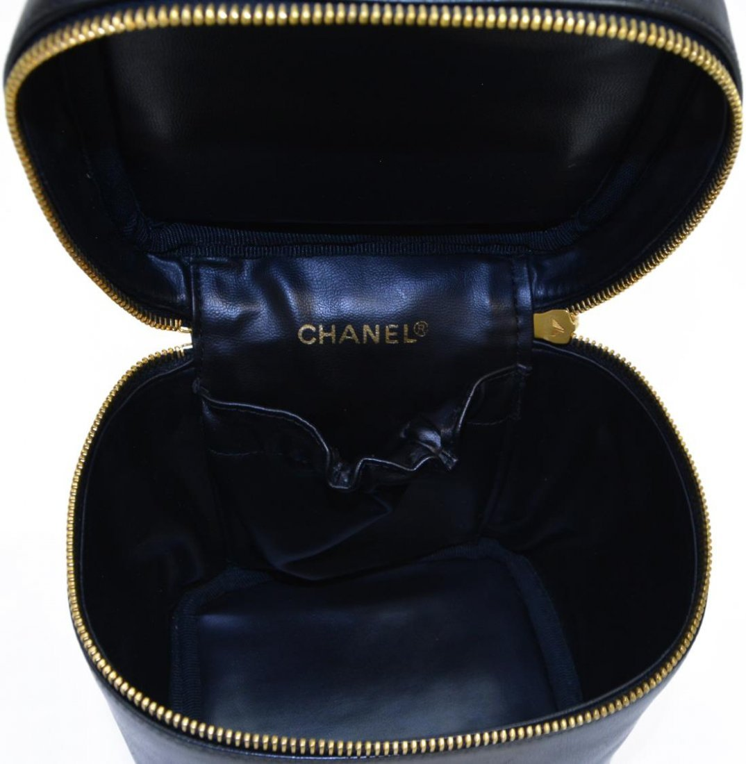 CHANEL LAMBSKIN QUILTED LEATHER COSMETIC BAG - 4
