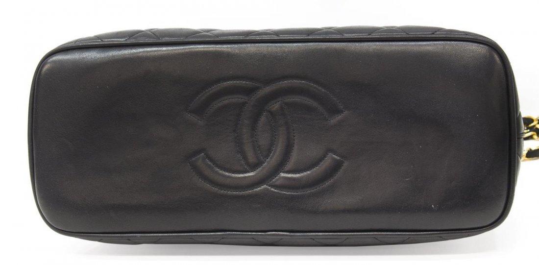 CHANEL BLACK QUILTED LEATHER SHOULDER BAG W/STRAPS - 3