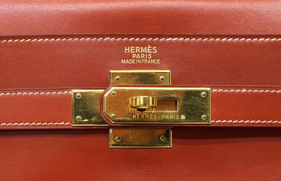 HERMES 'KELLY RETOURNE 32' ORANGE LEATHER HANDBAG - 5