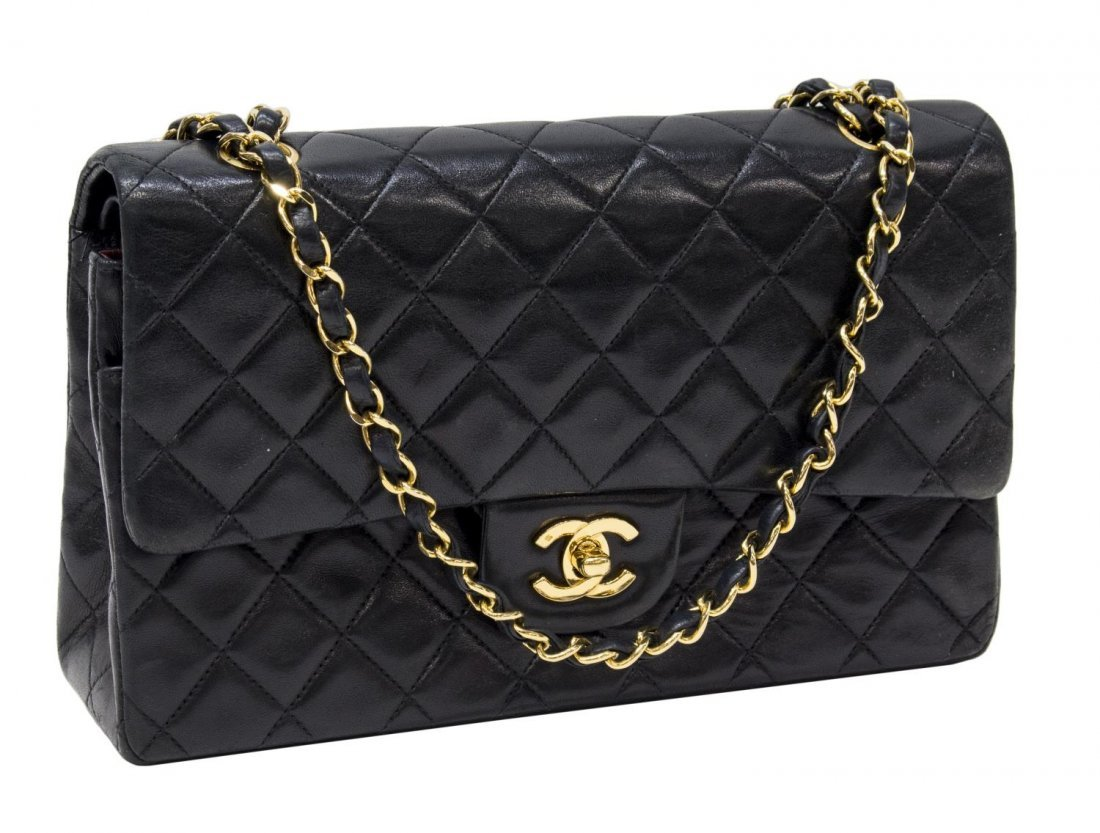 CHANEL QUILTED BLACK LEATHER FLAP TOP SHOULDER BAG