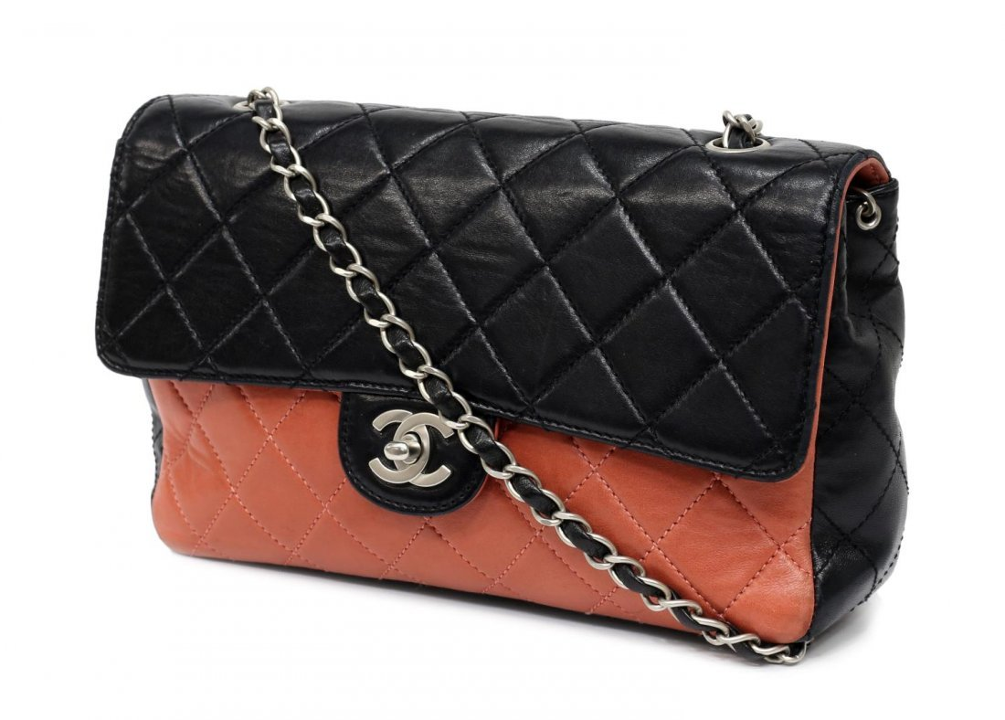 CHANEL SALMON & BLACK QUILTED LEATHER FLAP BAG