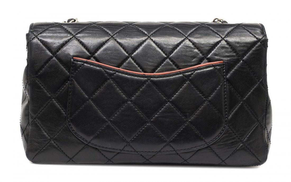 CHANEL SALMON & BLACK QUILTED LEATHER FLAP BAG - 2
