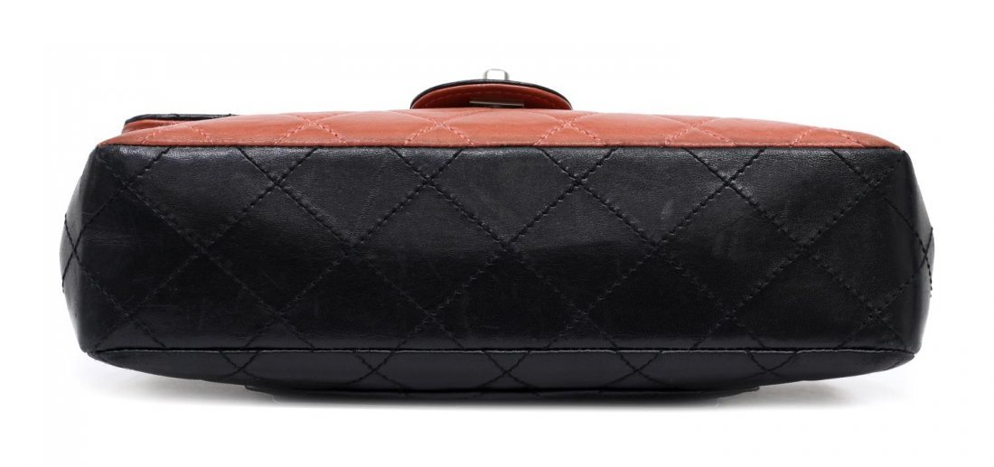 CHANEL SALMON & BLACK QUILTED LEATHER FLAP BAG - 3