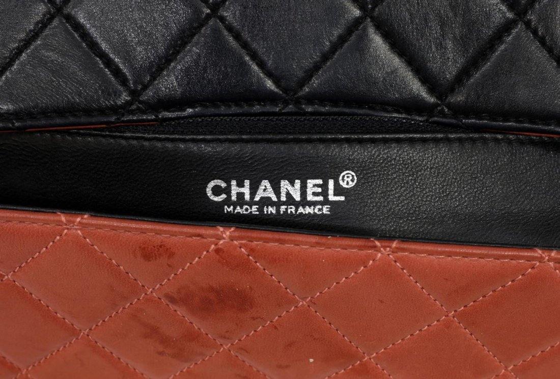 CHANEL SALMON & BLACK QUILTED LEATHER FLAP BAG - 5