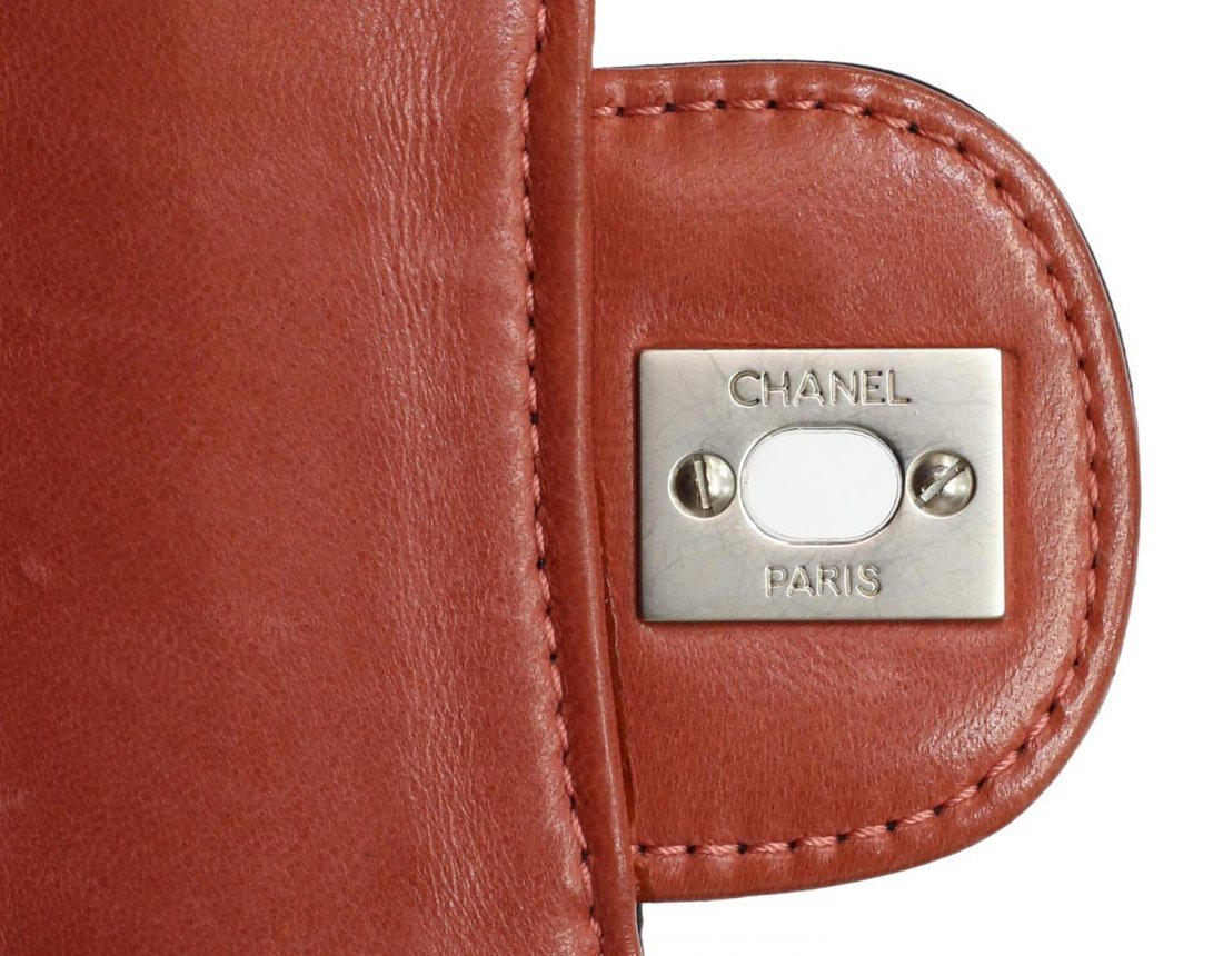 CHANEL SALMON & BLACK QUILTED LEATHER FLAP BAG - 6