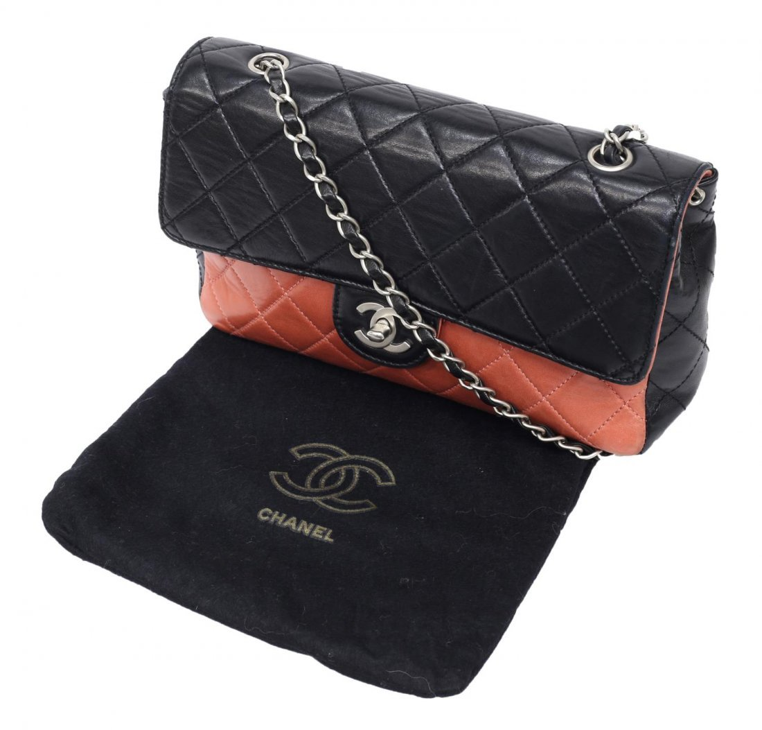 CHANEL SALMON & BLACK QUILTED LEATHER FLAP BAG - 8