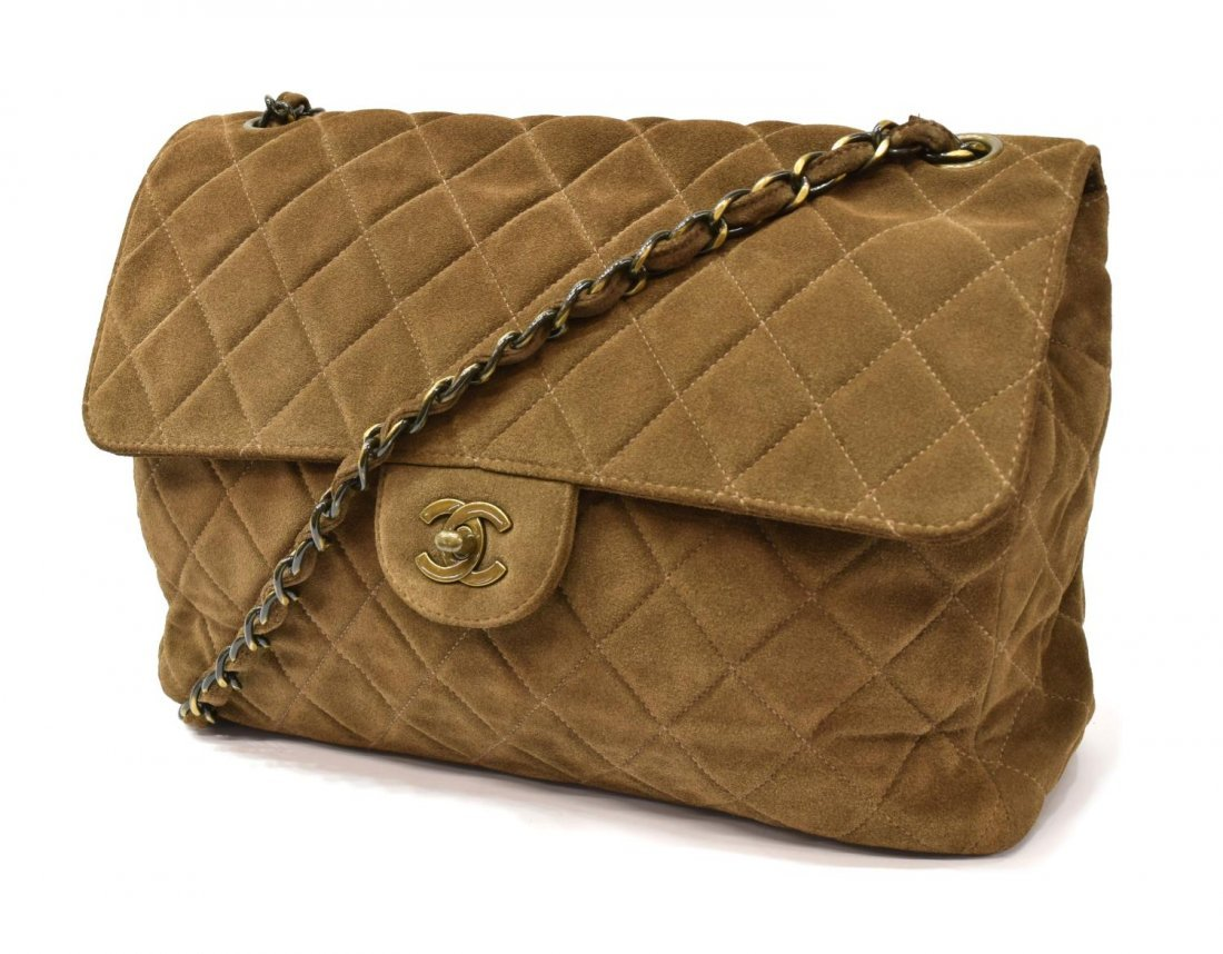 CHANEL 'JUMBO SINGLE FLAP' BROWN SUEDE QUILTED BAG