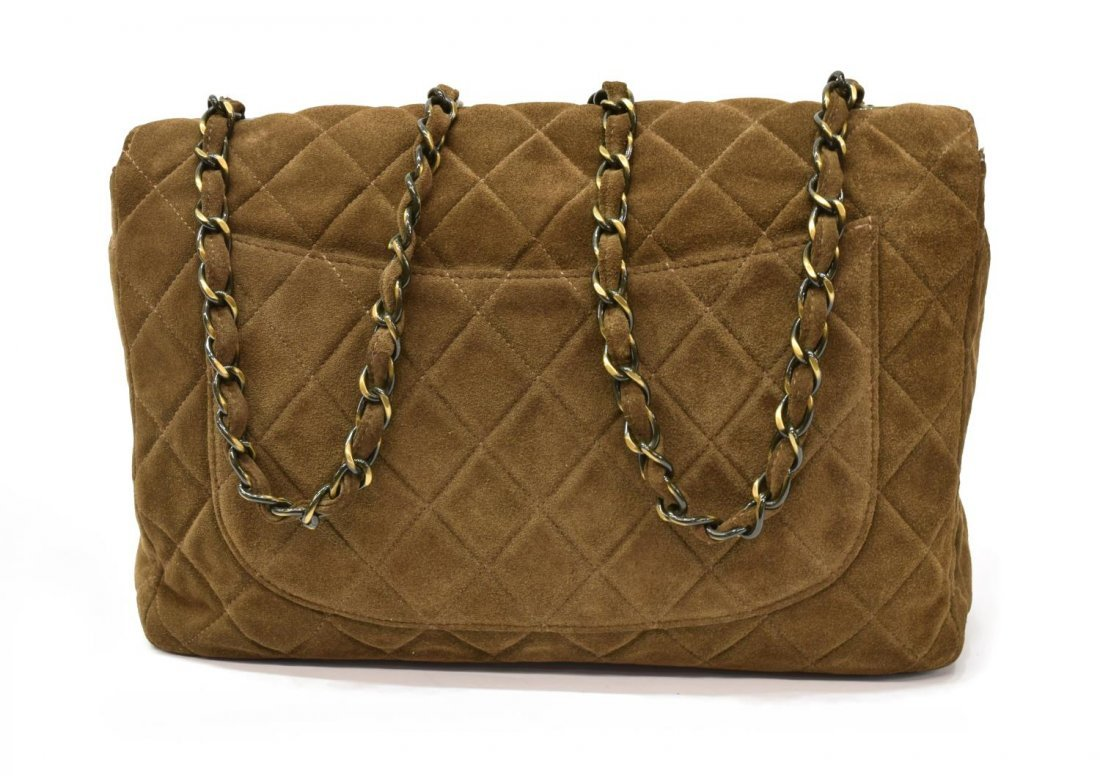 CHANEL 'JUMBO SINGLE FLAP' BROWN SUEDE QUILTED BAG - 2