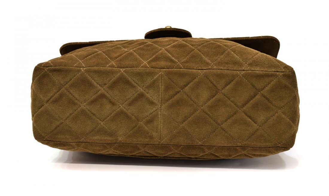 CHANEL 'JUMBO SINGLE FLAP' BROWN SUEDE QUILTED BAG - 3