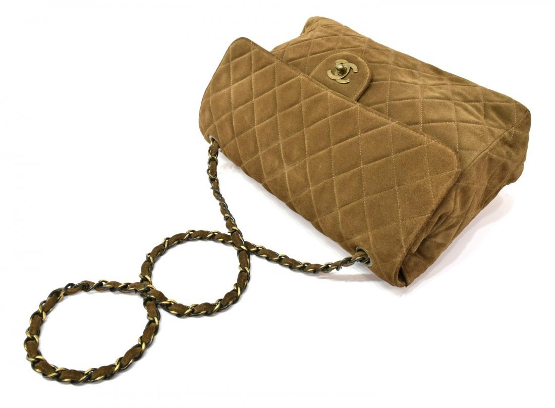 CHANEL 'JUMBO SINGLE FLAP' BROWN SUEDE QUILTED BAG - 4