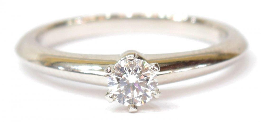 LADIES TIFFANY & CO PLAT & DIAMOND SOLITAIRE RING - 3