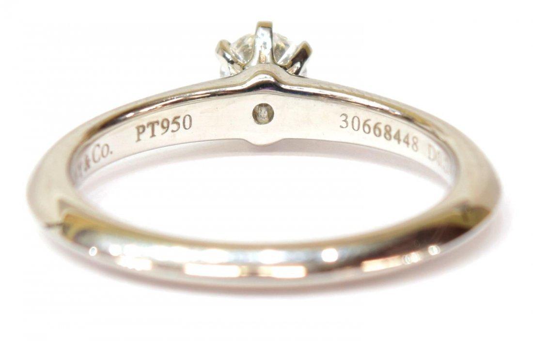 LADIES TIFFANY & CO PLAT & DIAMOND SOLITAIRE RING - 5