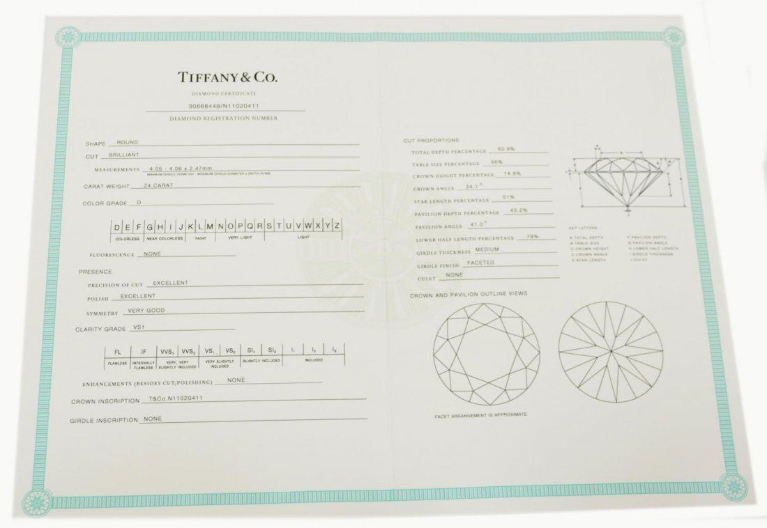LADIES TIFFANY & CO PLAT & DIAMOND SOLITAIRE RING - 8