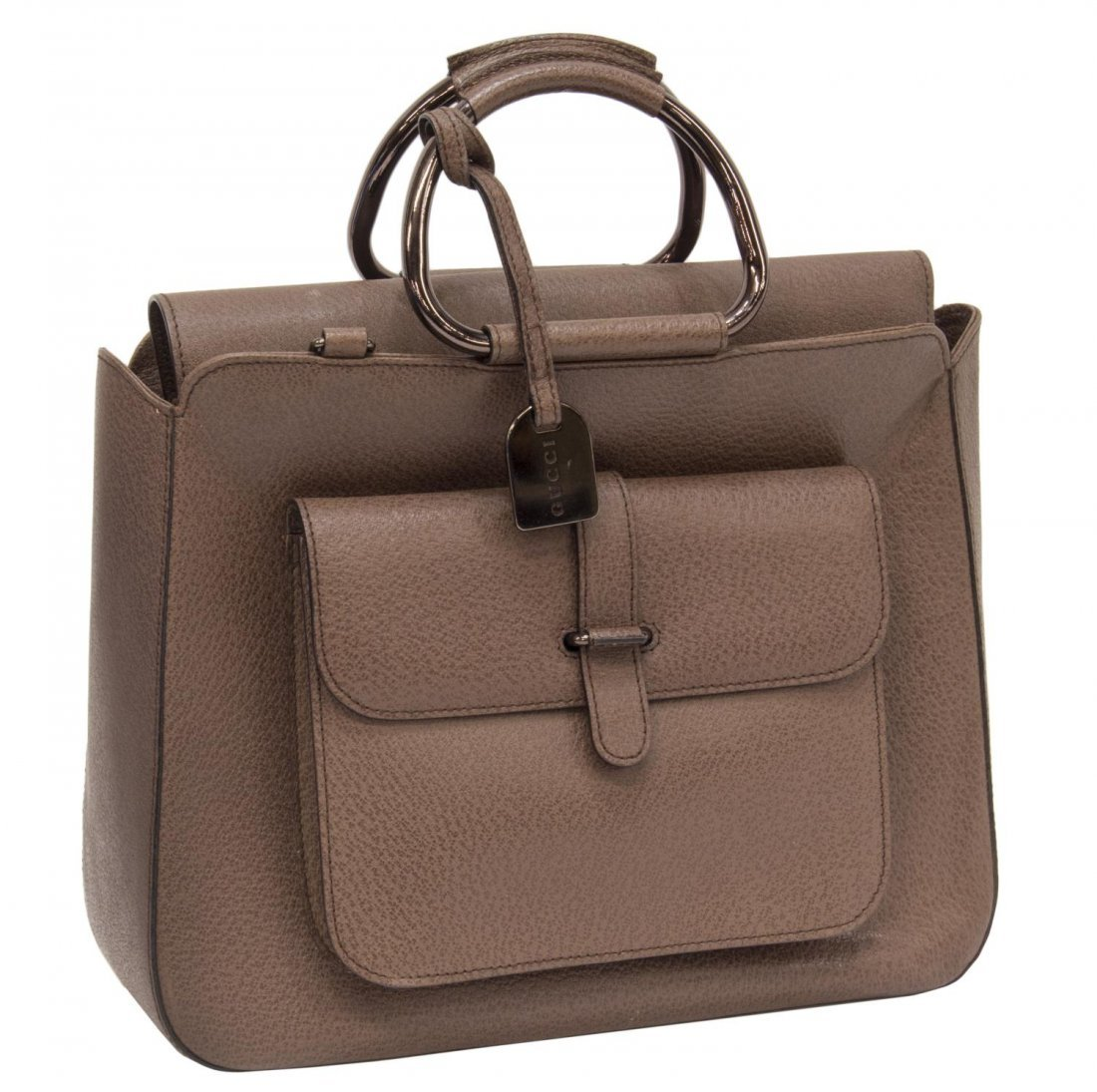 GUCCI BROWN SMALL GRAINED LEATHER HANDBAG