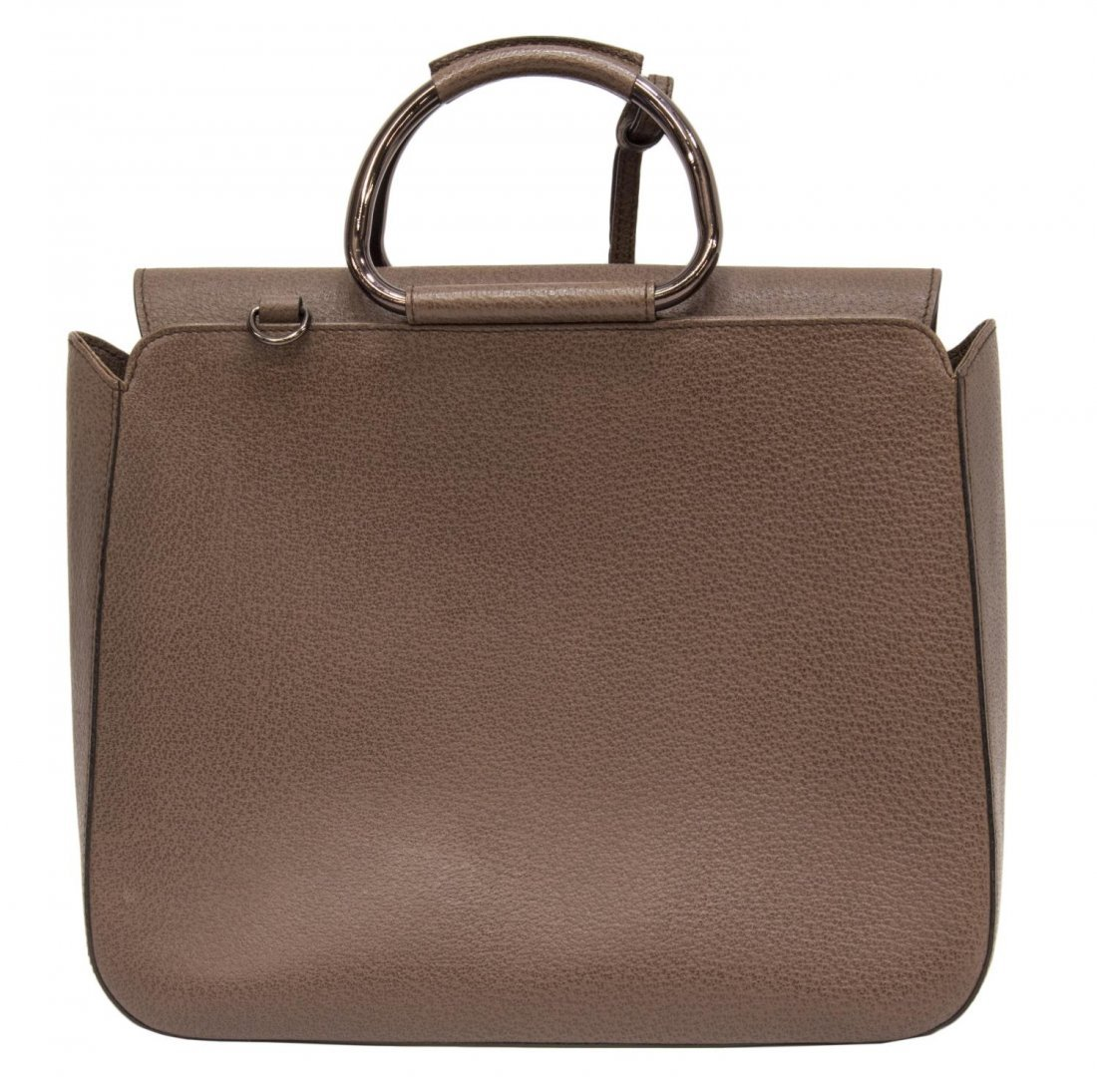 GUCCI BROWN SMALL GRAINED LEATHER HANDBAG - 2