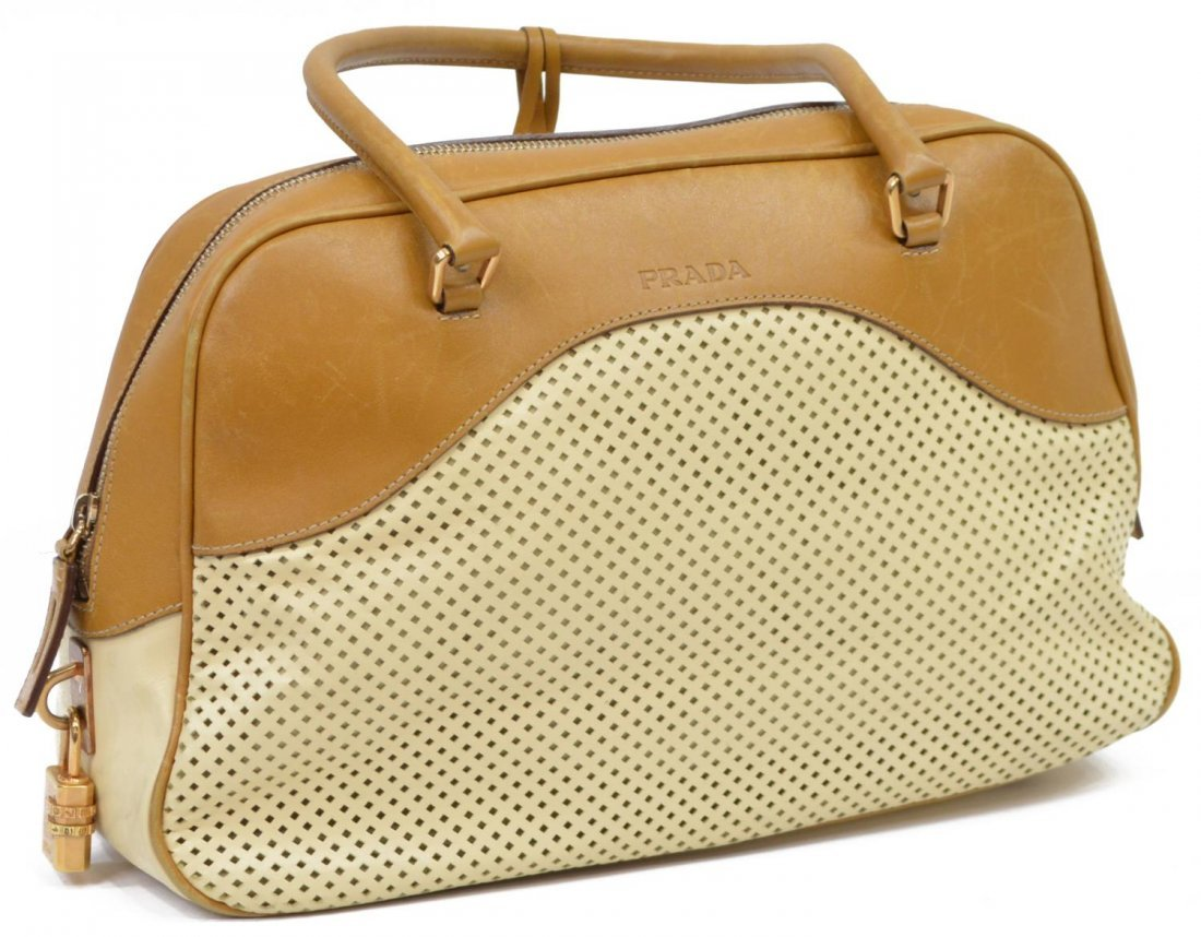 PRADA PERFORATED LEATHER DOUBLE HANDLED BAG