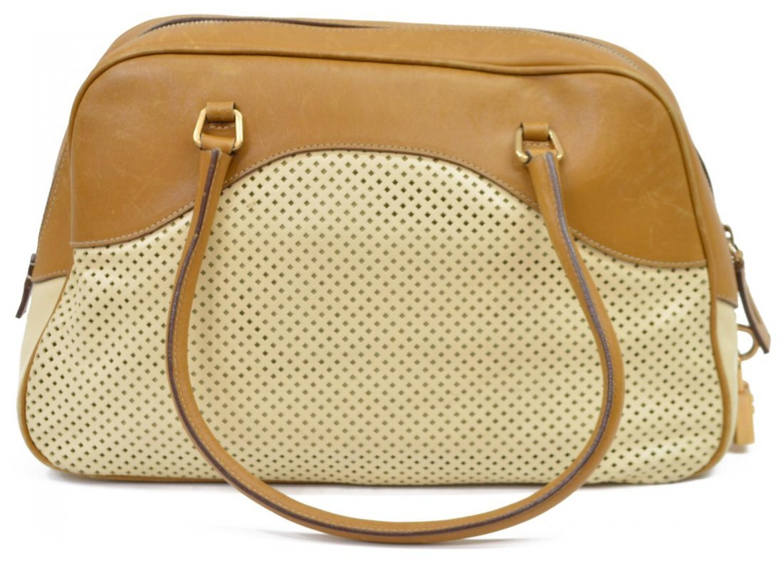 PRADA PERFORATED LEATHER DOUBLE HANDLED BAG - 2