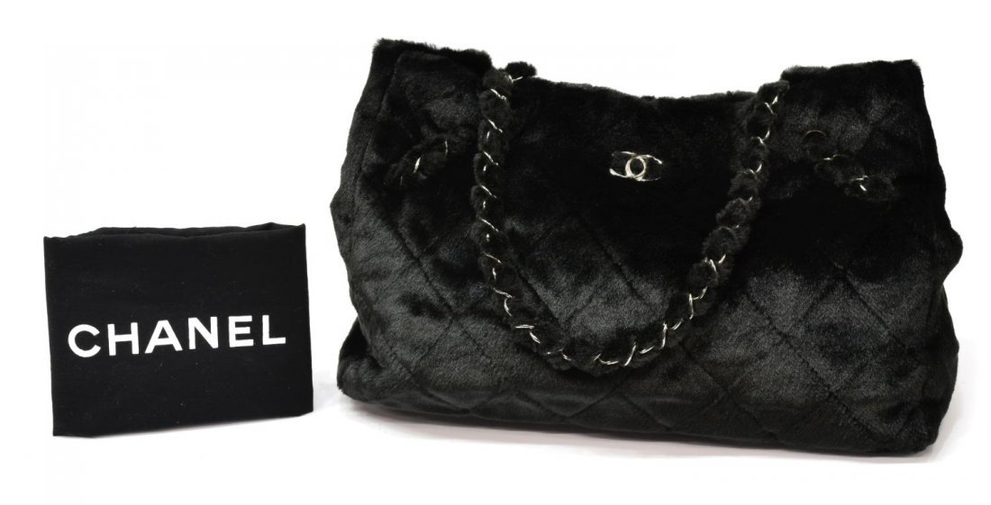 CHANEL QUILTED FAUX FUR TOTE BAG