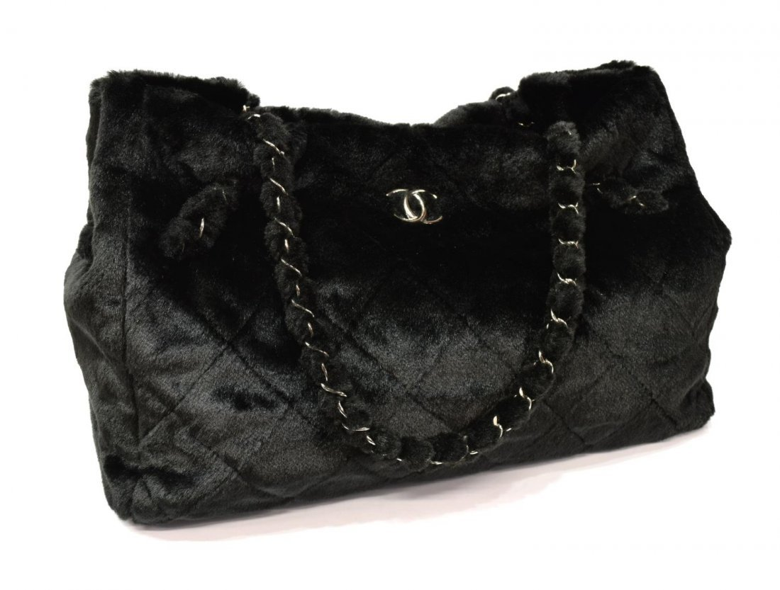 CHANEL QUILTED FAUX FUR TOTE BAG - 2