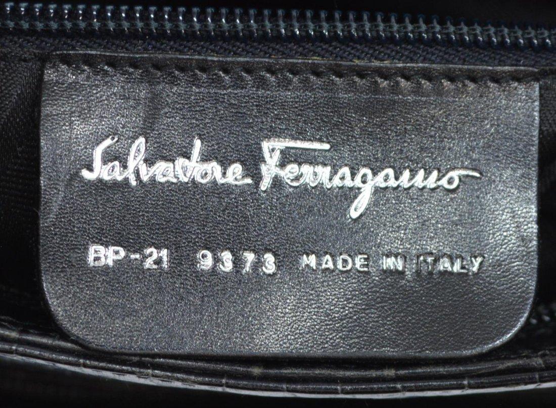 SALVATORE FERRAGAMO CROC LEATHER SHOULDER BAG - 5