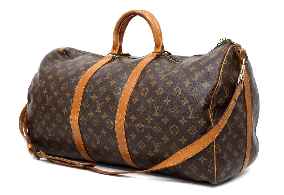 LOUIS VUITTON 'KEEPALL 55' MONOGRAM DUFFLE W/STRAP