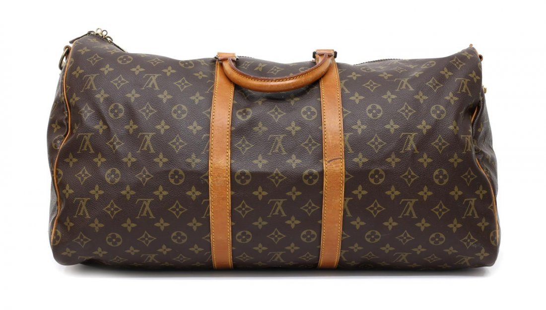 LOUIS VUITTON 'KEEPALL 55' MONOGRAM DUFFLE W/STRAP - 2