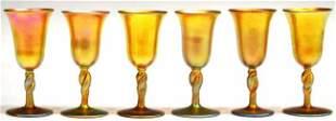 (6) IRIDESCENT ART GLASS CORDIALS, STEUBEN ATTRIB.
