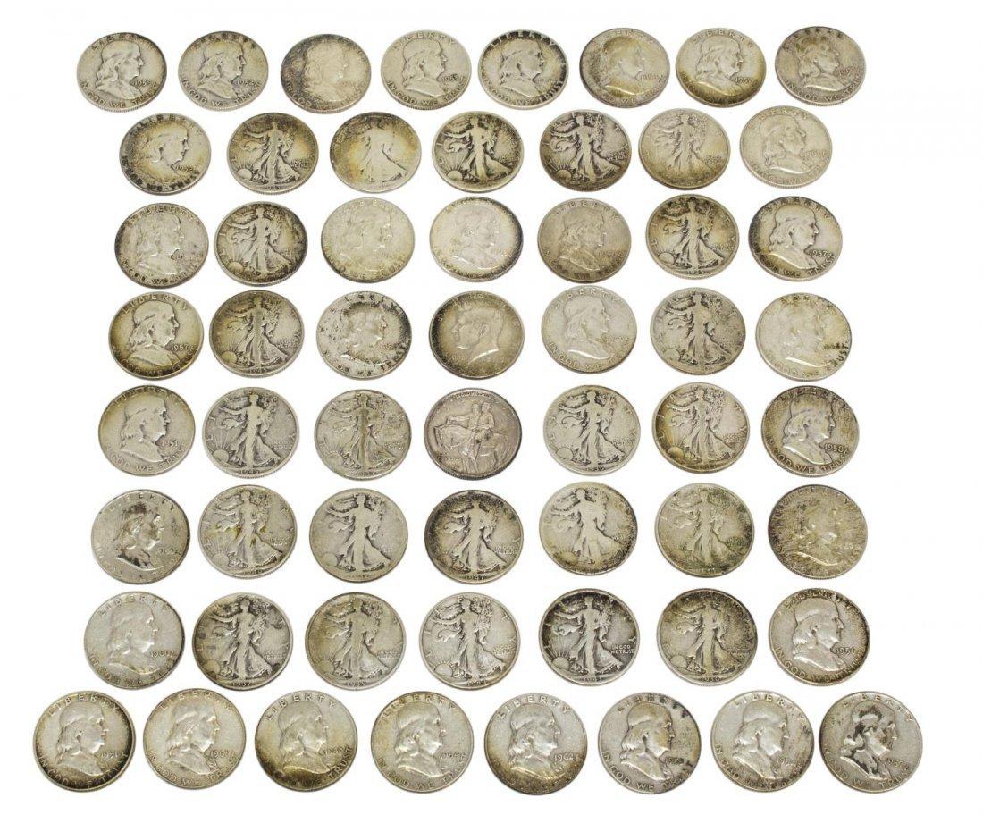 (58) U.S. SILVER HALF DOLLARS, LIBERTY, FRANKLIN