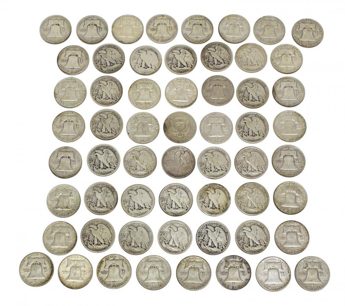 (58) U.S. SILVER HALF DOLLARS, LIBERTY, FRANKLIN - 2
