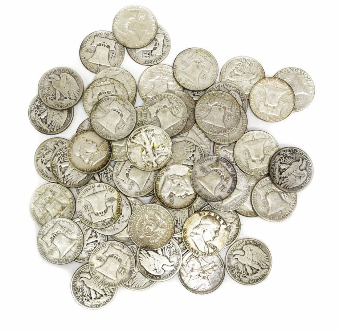 (58) U.S. SILVER HALF DOLLARS, LIBERTY, FRANKLIN - 4