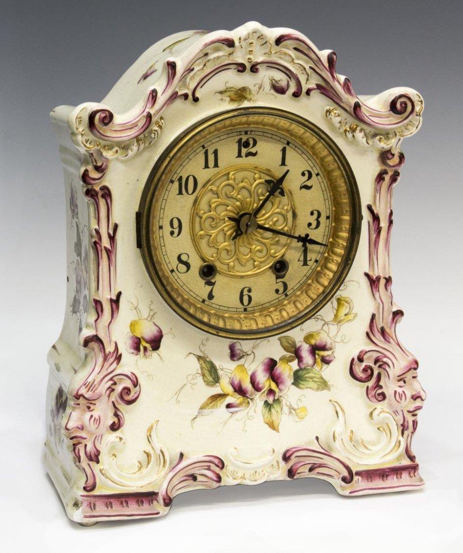 WATERBURY PORCELAIN CASED CLOCK, OPERATING