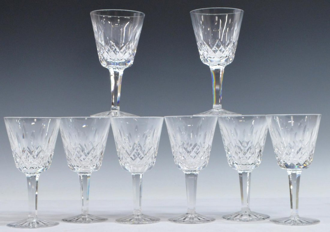 (8) WATERFORD LISMORE CUT CLARET WINE GOBLETS