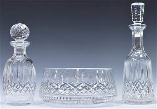 (4) WATERFORD LISMORE CRYSTAL DECANTERS & BOWL