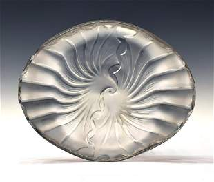 LALIQUE ART GLASS FROSTED SHELL FORM DISH