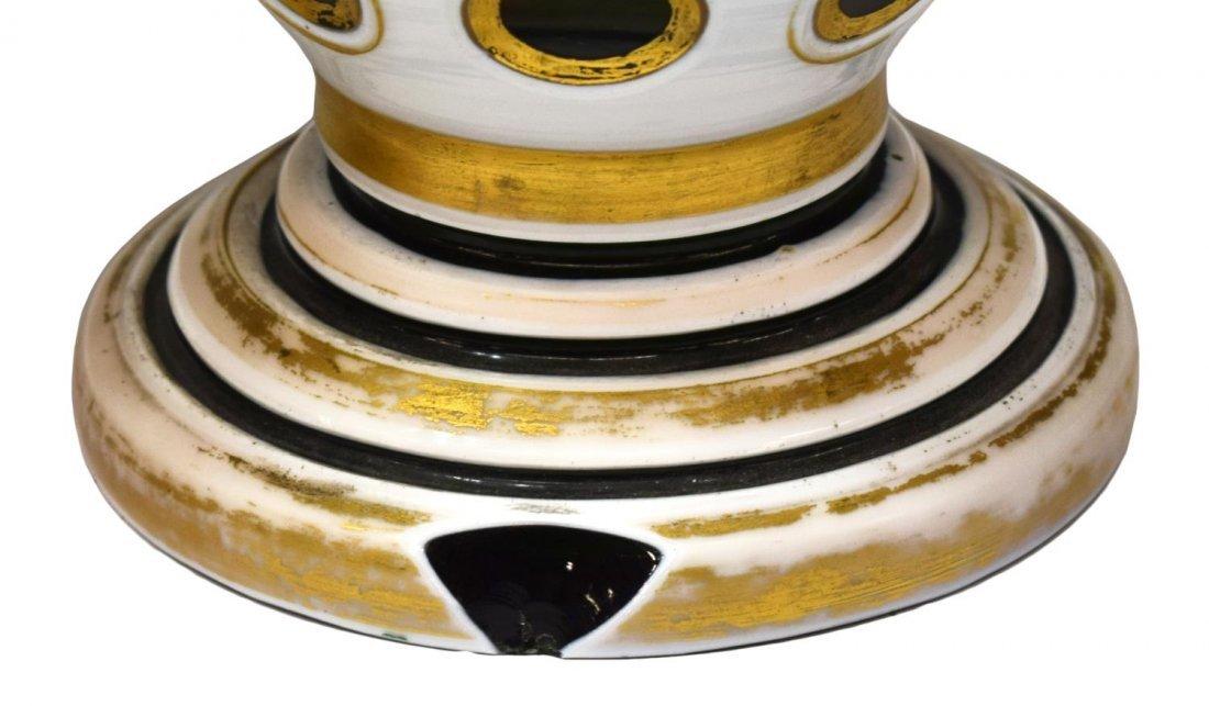 2) ANTIQUE PARCEL GILT GREEN & WHITE OVERLAY VASES - 4