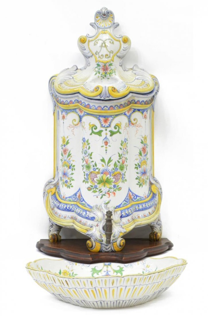 FRENCH HB CHOISY FAIENCE LLAVABO & BOWL, 1899