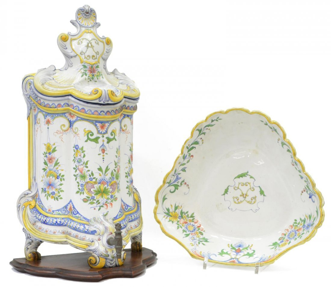 FRENCH HB CHOISY FAIENCE LLAVABO & BOWL, 1899 - 2