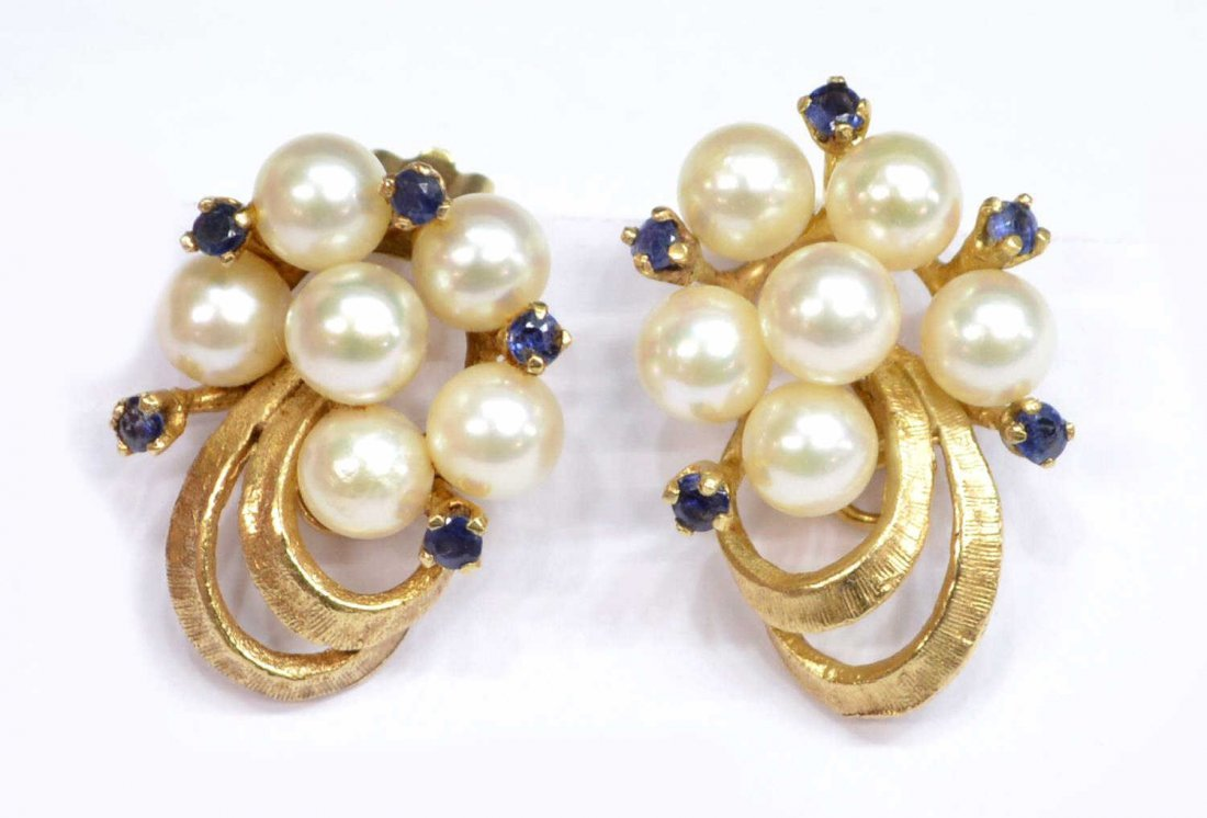 (PAIR) LADIES ESTATE 14KT GOLD PEARL EAR CLIPS