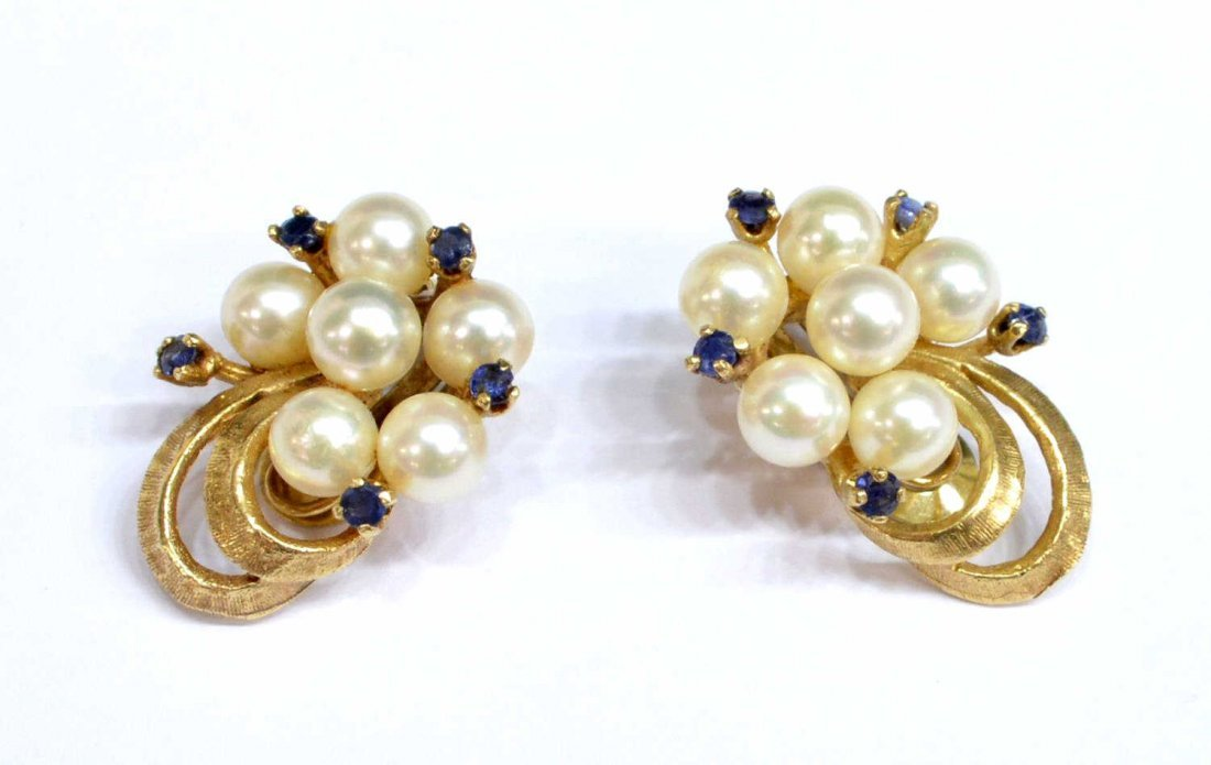 (PAIR) LADIES ESTATE 14KT GOLD PEARL EAR CLIPS - 2