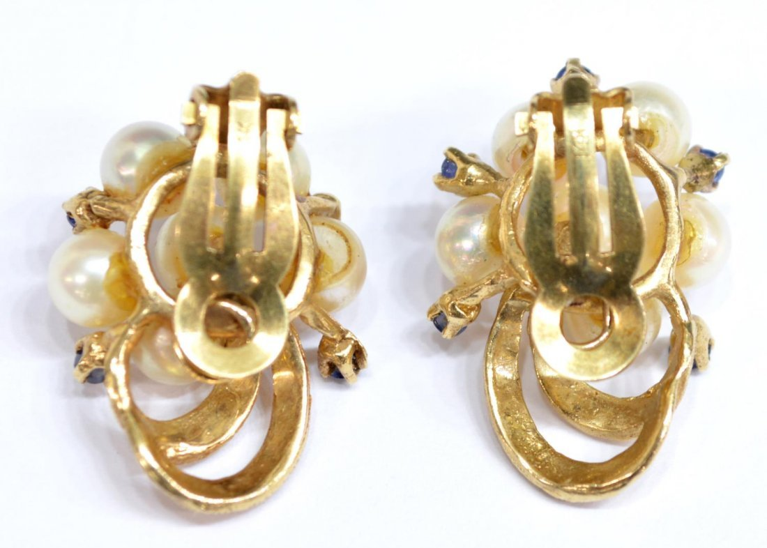 (PAIR) LADIES ESTATE 14KT GOLD PEARL EAR CLIPS - 3