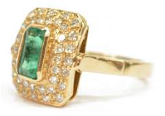 LADIES ESTATE 14KT EMERALD  DIAMOND COCKTAIL RING