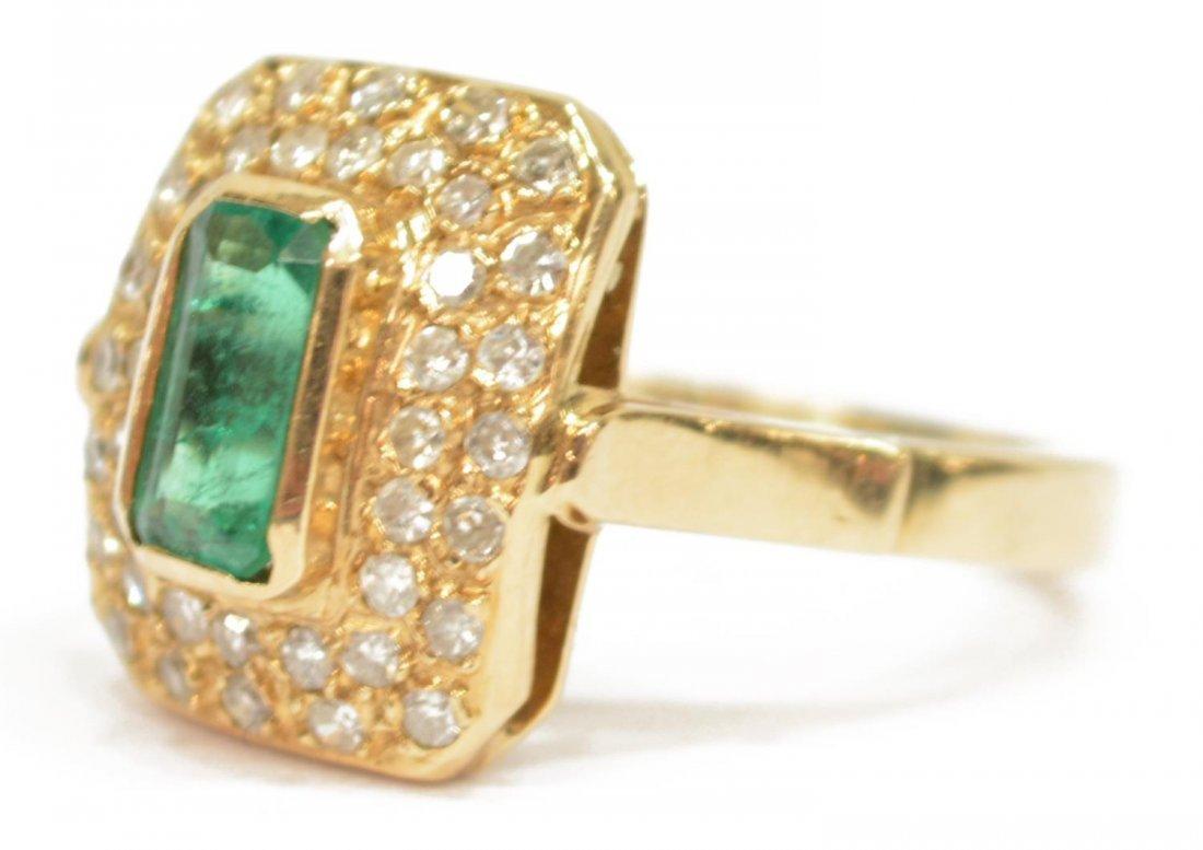 LADIES ESTATE 14KT EMERALD & DIAMOND COCKTAIL RING