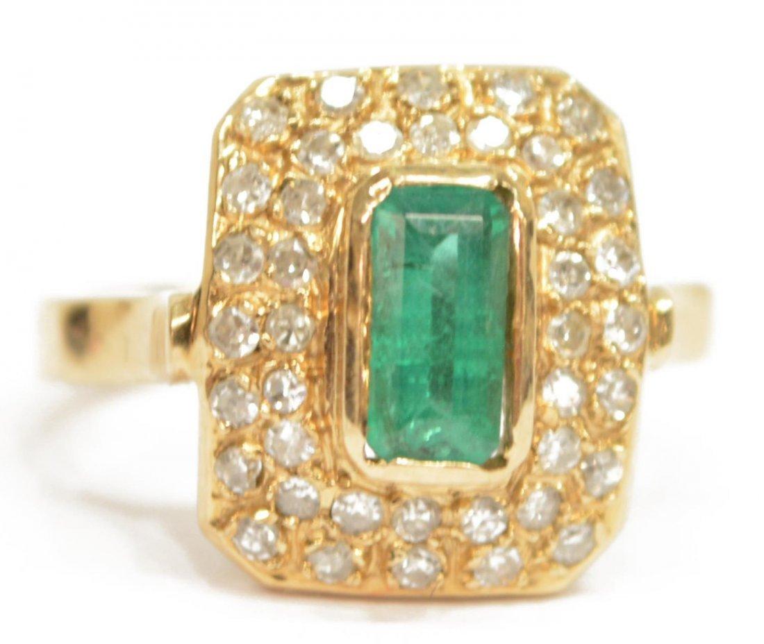 LADIES ESTATE 14KT EMERALD & DIAMOND COCKTAIL RING - 2