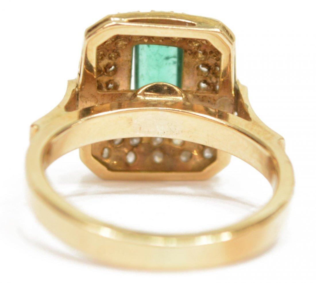 LADIES ESTATE 14KT EMERALD & DIAMOND COCKTAIL RING - 3