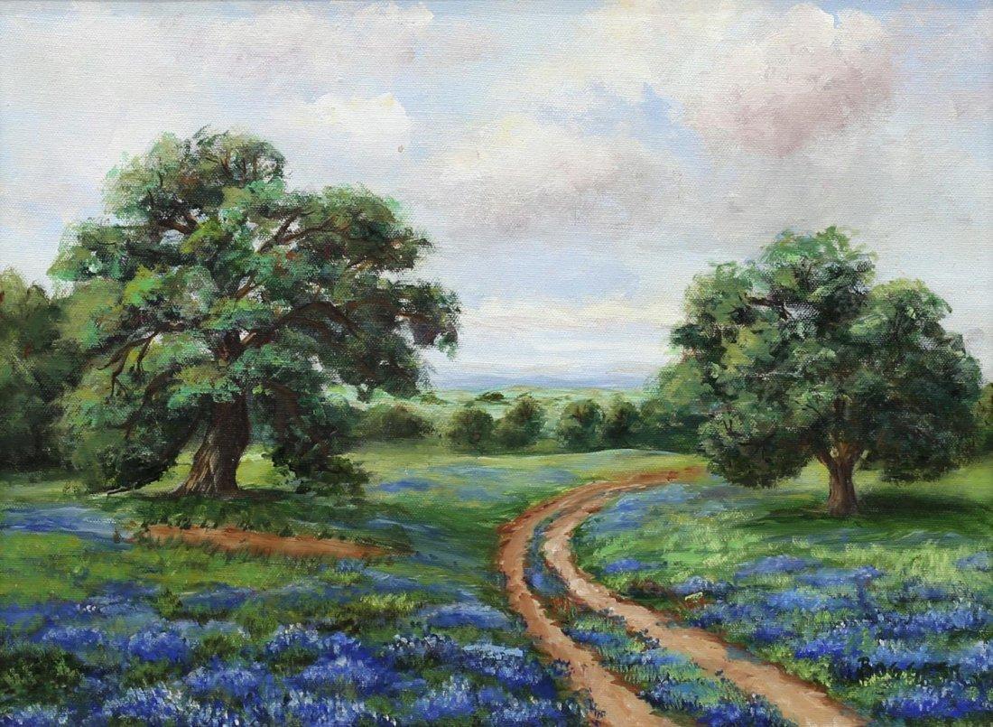 GAYLE BOGGESS (TEXAS 20TH C.) O/C BLUE BONNETS