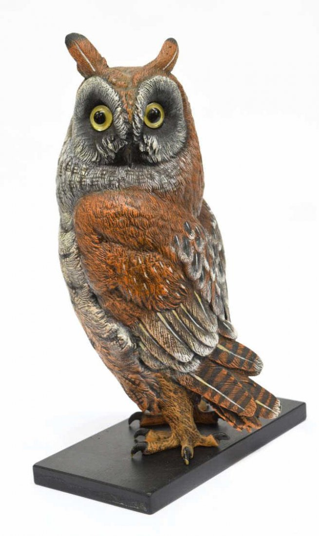 CARL KAUBA (1865-1922) SCARCE PAINTED BRONZE OWL