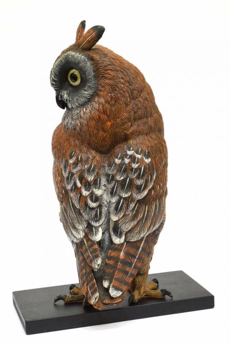 CARL KAUBA (1865-1922) SCARCE PAINTED BRONZE OWL - 3