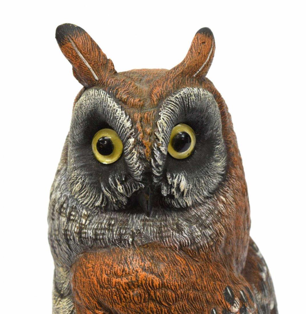 CARL KAUBA (1865-1922) SCARCE PAINTED BRONZE OWL - 4